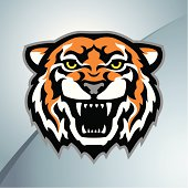 Illustration of a tiger head mascot