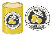 Label for green olives decorated by olive twig with berries and ribbon in retro style on the black background. Vector illustration of label and tin can with this label.