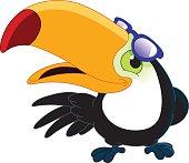Cartoon toucan wearing sunglasses