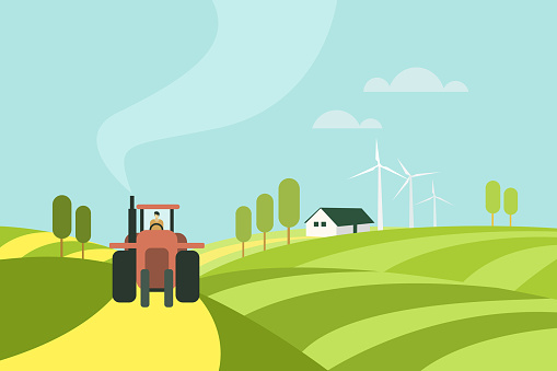 Illustration of a tractor moving through a farm with farm house and wind mills