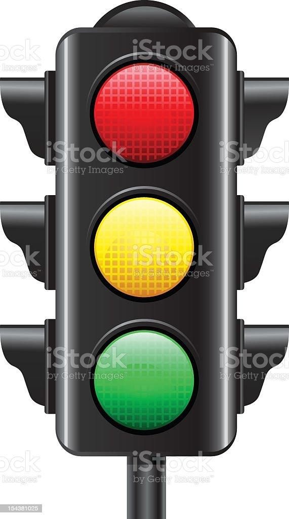 Illustration of a traffic light on white background vector art illustration