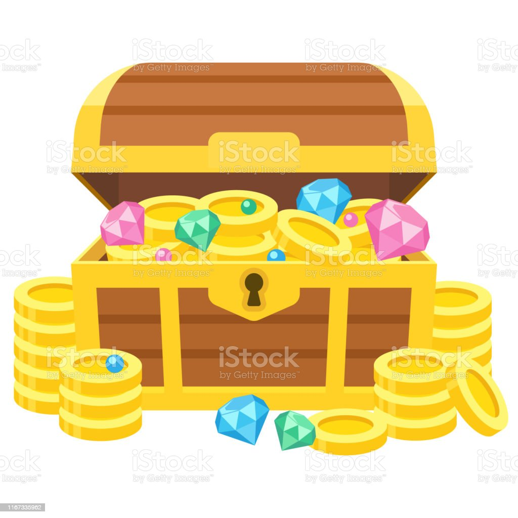 Illustration of a treasure box with gold coins and jewels