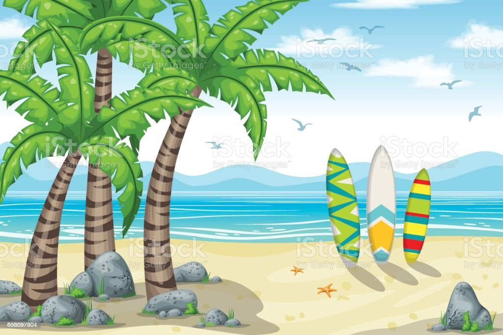 Illustration of a tropical coastal landscape royalty-free illustration of a tropical coastal landscape stock vector art & more images of backgrounds