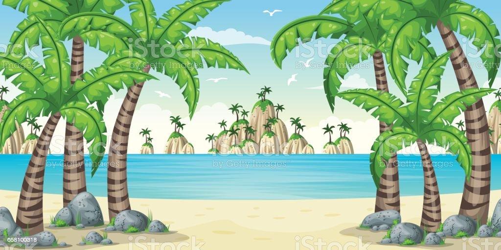 Illustration of a tropical coastal landscape vector art illustration