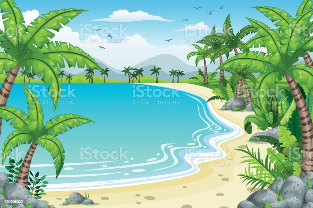 Illustration of a tropical coastal landscape royalty-free illustration of a tropical coastal landscape stock vector art & more images of backgrounds
