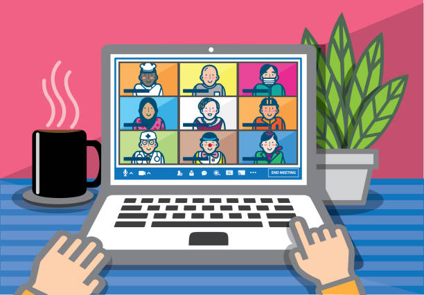 Illustration of a video conference screen with nine participants. Teleconference for work from home and self quarantine in COVID-19 pandemic concept. Online meeting that involved different professions with hands on laptop. zoom stock illustrations