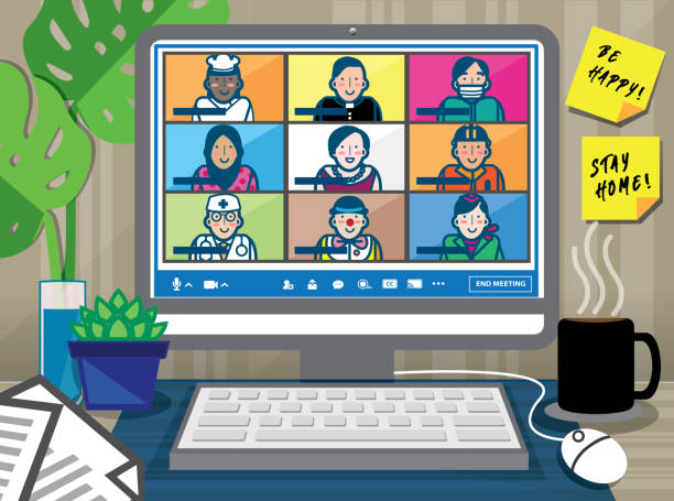 Illustration of a video conference screen with nine participants. Teleconference for work from home and self quarantine in COVID-19 pandemic concept. Online meeting that involved different professions. zoom stock illustrations