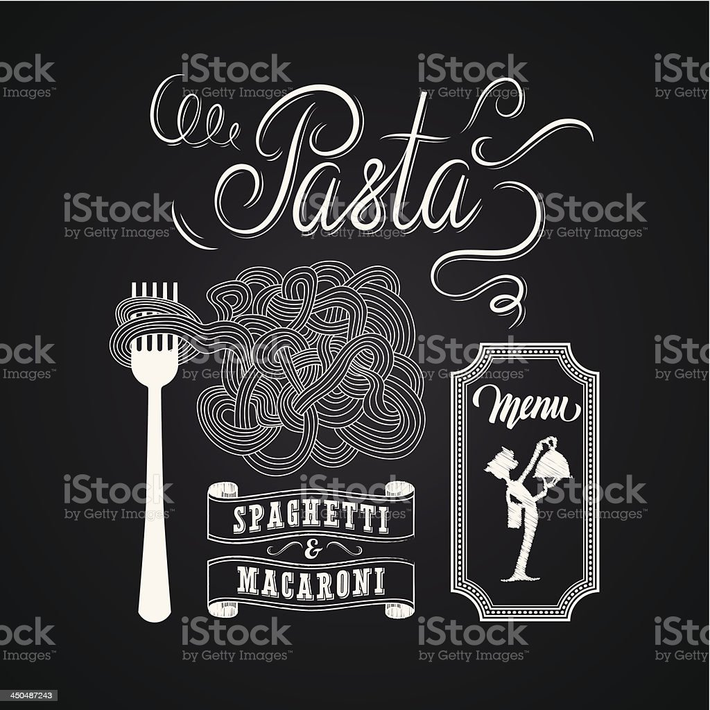 Illustration of a vintage graphic element for menu on blackboard vector art illustration
