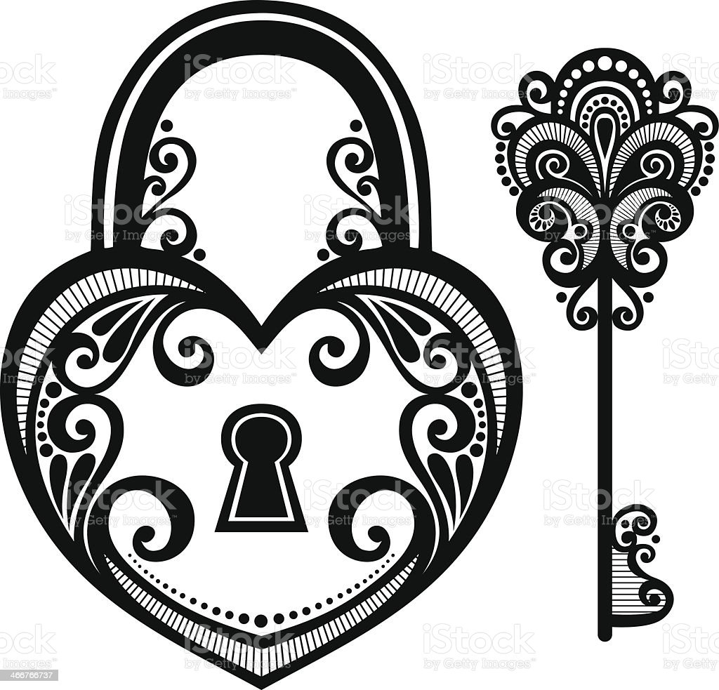 Illustration Of A Vintage Lock And Key Stock Vector Art  for Lock And Key Clipart Black And White  166kxo