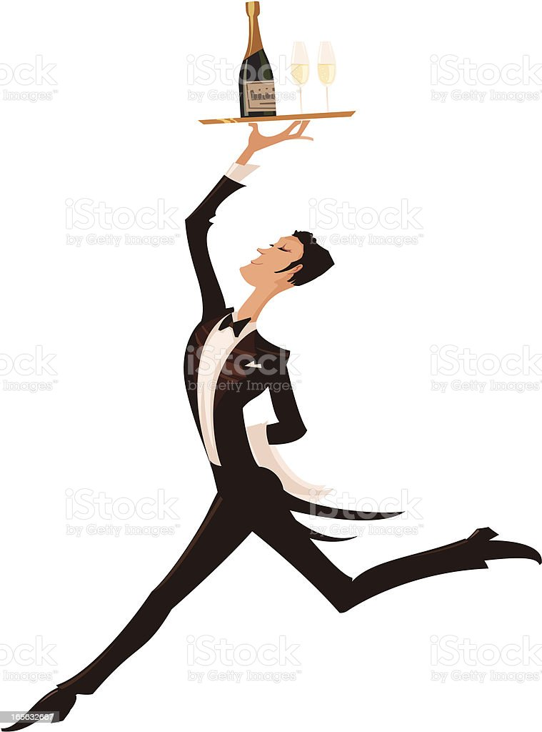 Illustration of a waiter with a tray of wine above his head royalty-free stock vector art