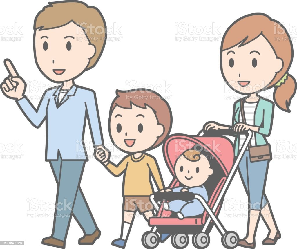 Illustration of a walking 4-person family vector art illustration