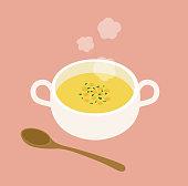 Illustration of a warm potage