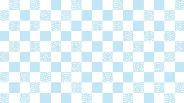Illustration of a white background with a continuous check pattern and ripple continuous pattern. vector art illustration