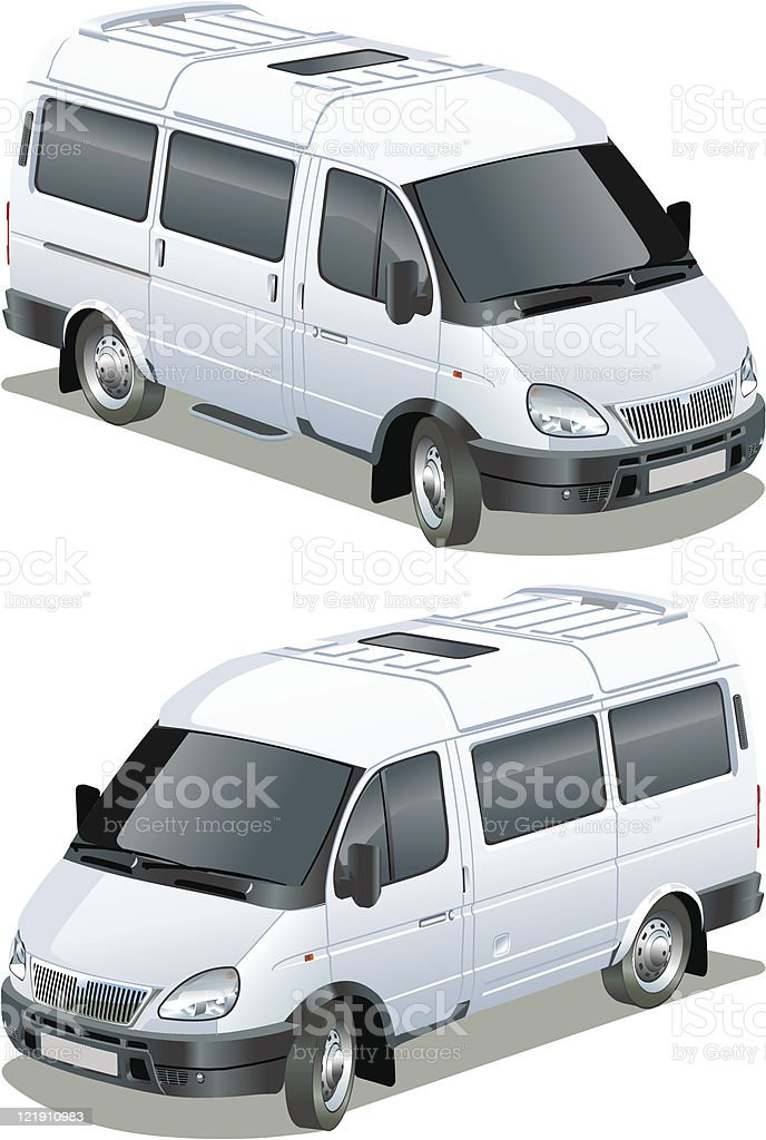Illustration of a white cargo delivery van royalty-free stock vector art