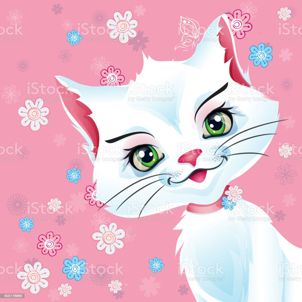 Illustration of a white cat on a pink background royalty-free stock vector art