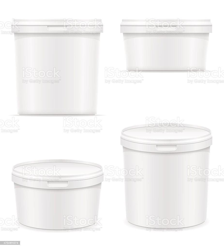 Illustration of a white plastic container for dessert vector art illustration