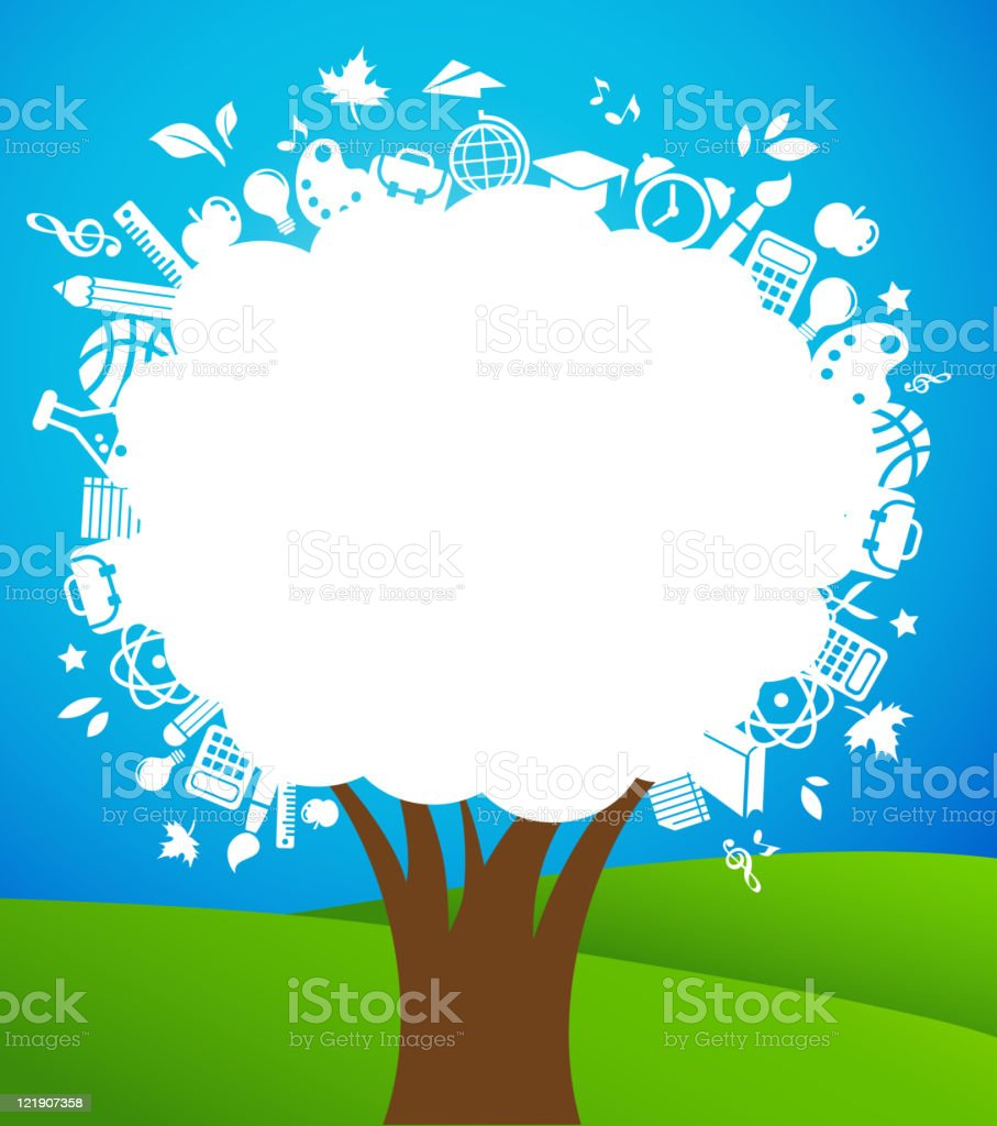 Illustration of a white tree made up of educational icons royalty-free illustration of a white tree made up of educational icons stock vector art & more images of apple - fruit