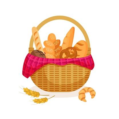 Illustration of a wicker basket