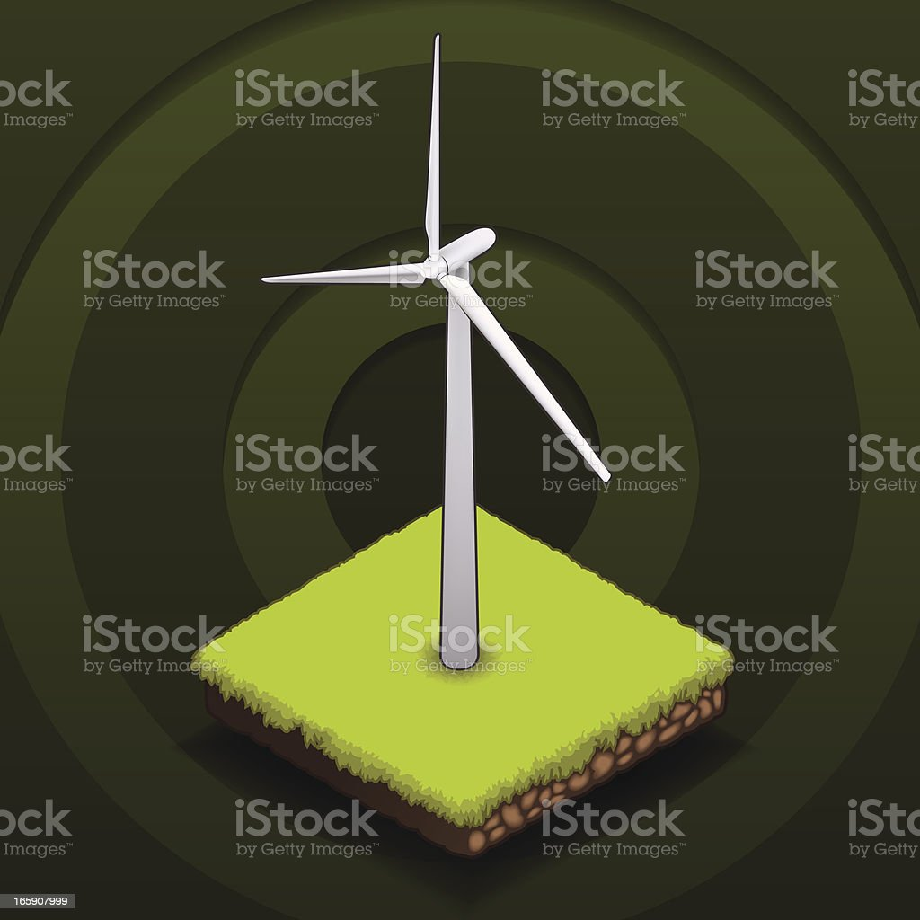 Illustration of a windmill promoting alternative energy royalty-free stock vector art