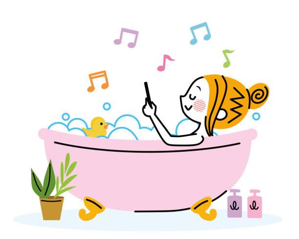 bildbanksillustrationer, clip art samt tecknat material och ikoner med illustration av en kvinna som badar. - japanese bath woman