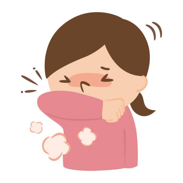 ilustrações de stock, clip art, desenhos animados e ícones de illustration of a woman coughing with her arms to prevent splashing. - da cintura para cima
