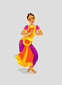 Illustration of a woman dancing Indian dance in the style of Bharatanatyam
