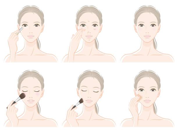 化粧をしている女性のイラスト - エステ点のイラスト素材/クリップアート素材/マンガ素材/アイコン素材