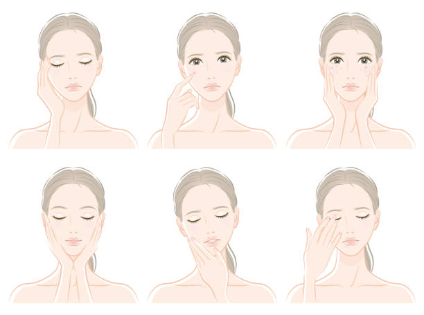 illustrazioni stock, clip art, cartoni animati e icone di tendenza di illustration of a woman doing skin care - solo giapponesi