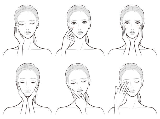 ilustrações de stock, clip art, desenhos animados e ícones de illustration of a woman doing skin care - da cintura para cima