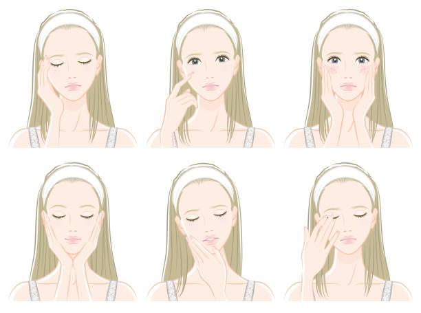 illustrations, cliparts, dessins animés et icônes de illustration d'une femme faisant des soins de la peau - femme tache de rousseur