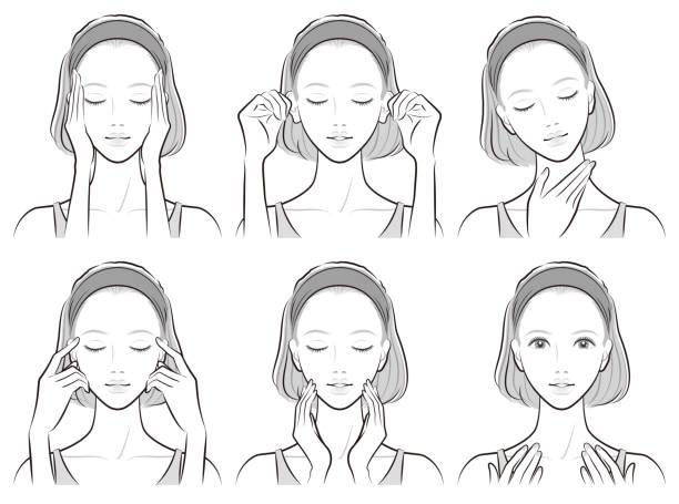 スキンケアをしている女性のイラスト - スキンケア点のイラスト素材/クリップアート素材/マンガ素材/アイコン素材
