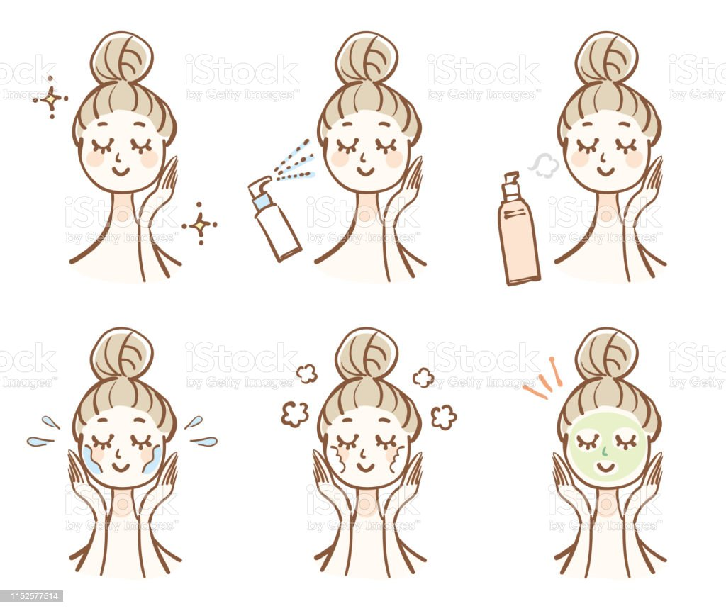 Illustration of a woman doing skin care - Royalty-free 20-29 Anos arte vetorial