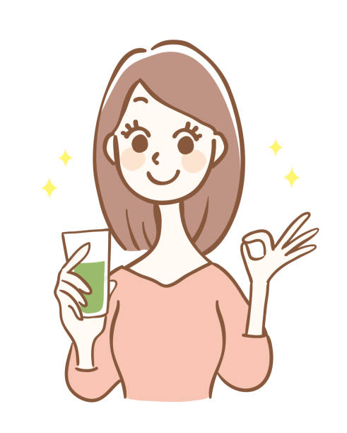 Illustration of a woman drinking a green smoothie Illustration of a woman drinking a green smoothie vegetable juice stock illustrations