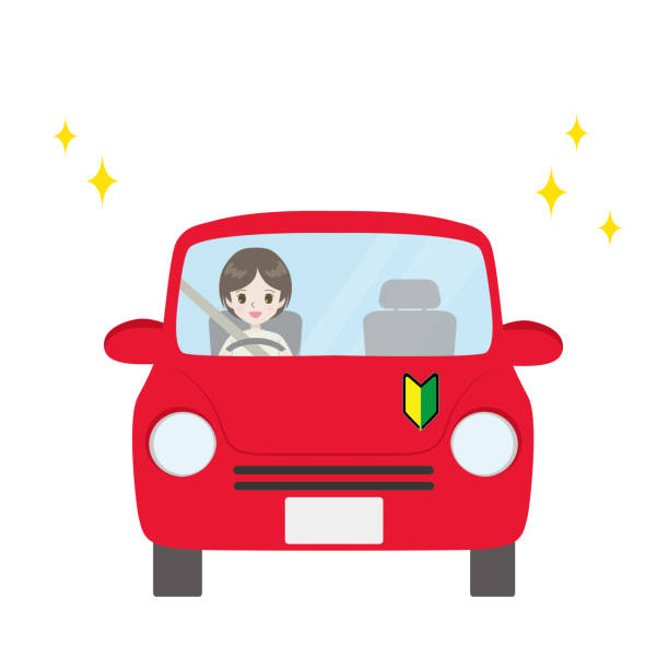 Illustration of a woman driving a car with a beginner mark. vector art illustration