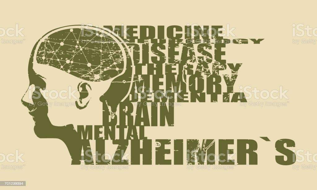 Illustration d'une tête de femme avec cerveau - Illustration vectorielle