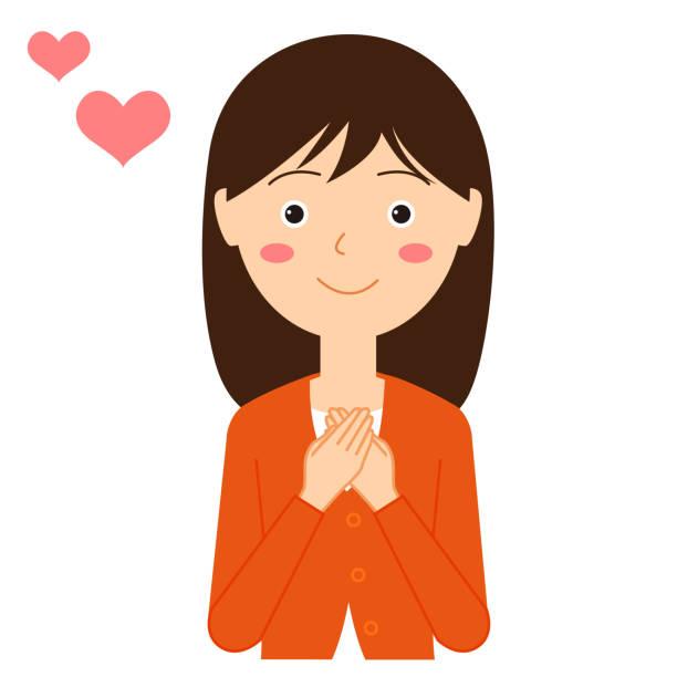 ilustrações de stock, clip art, desenhos animados e ícones de illustration of a woman in love. - mão no peito