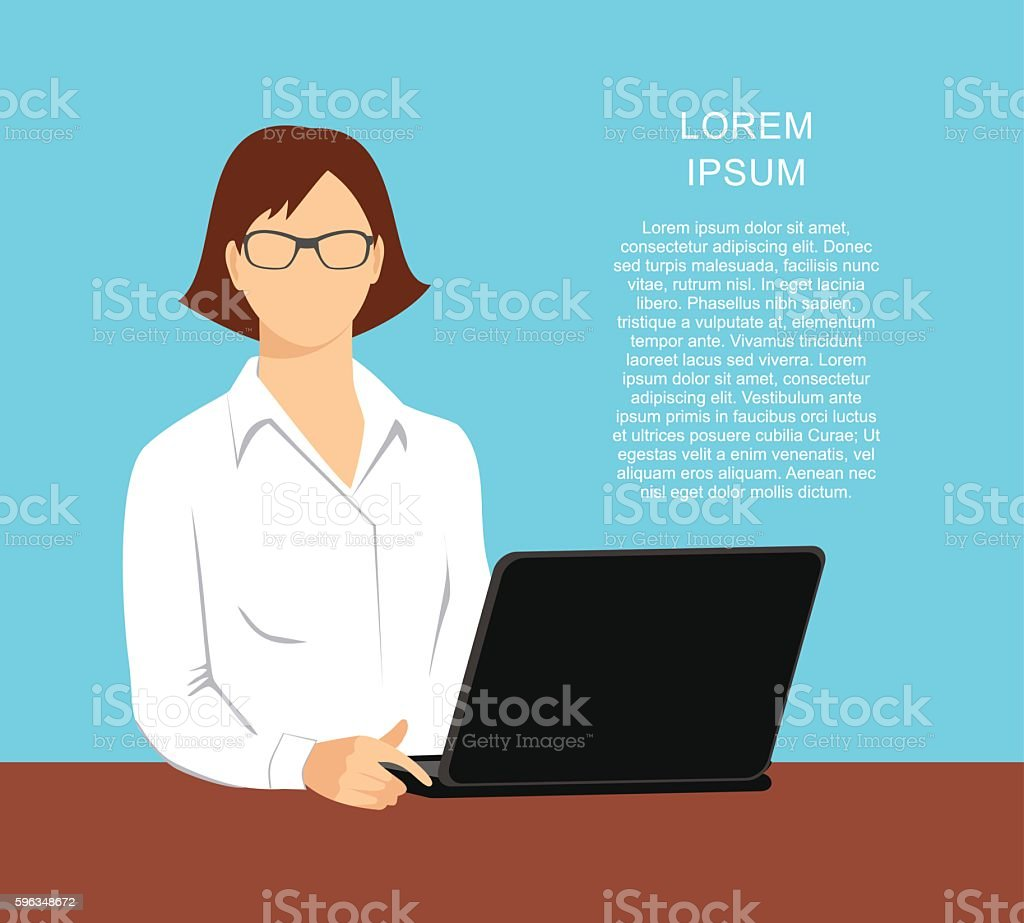 illustration of a woman in the office with a laptop royalty-free illustration of a woman in the office with a laptop stock vector art & more images of adult