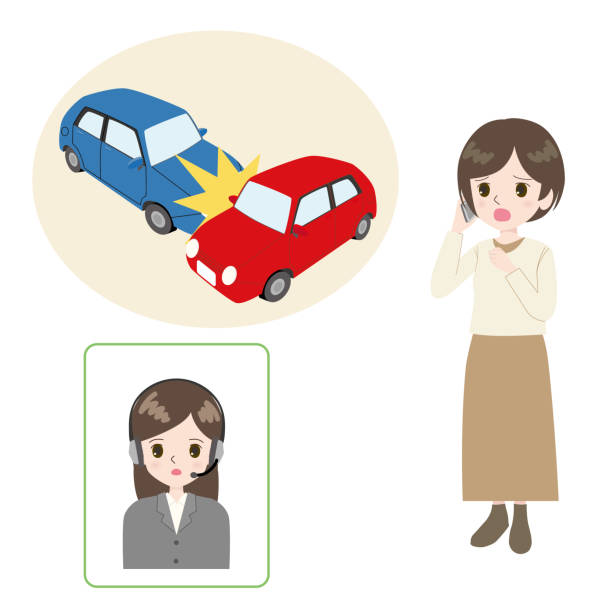 Illustration of a woman making a phone call looking at a collision. vector art illustration