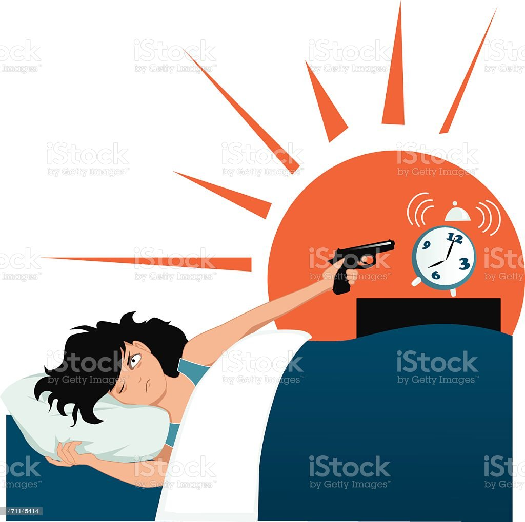Illustration of a woman pointing a gun at her alarm clock vector art illustration