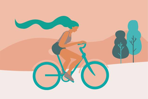 Illustration of a woman riding a bicycle. Exercise and eco friendly transport vector art illustration