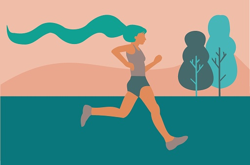 Illustration of a woman running through the fields