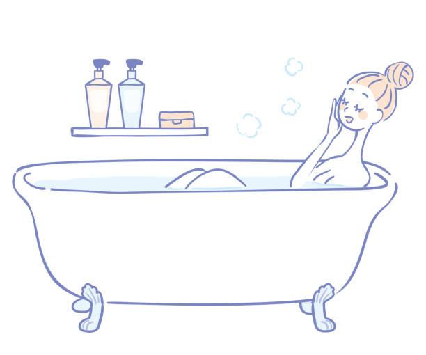 bildbanksillustrationer, clip art samt tecknat material och ikoner med illustration av en kvinna att bada - japanese bath woman