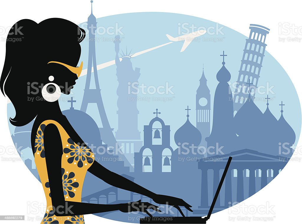 Illustration of a woman using laptop all around the world royalty-free stock vector art