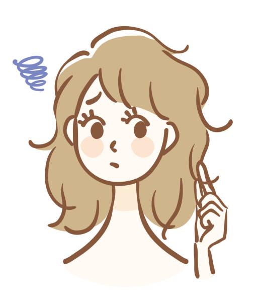 髪 悩み イラスト素材 - iStock