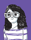 Illustration of a woman with glasses and a striped shirt