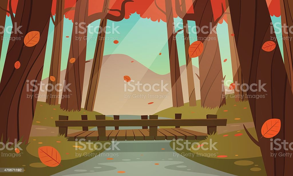 Illustration of a wooden bridge in the forest