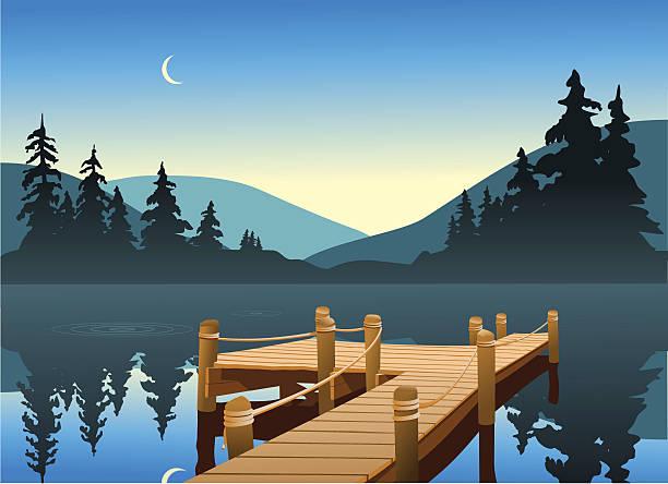ilustraciones, imágenes clip art, dibujos animados e iconos de stock de muelle de pesca - lago