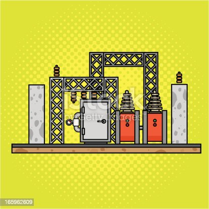 istock Illustration of a yellow background and power substation 165962609