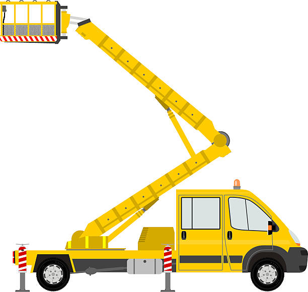 bildbanksillustrationer, clip art samt tecknat material och ikoner med illustration of a yellow bucket truck - skylift