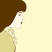 Illustration of a young girl with straight long hair on a sepia background